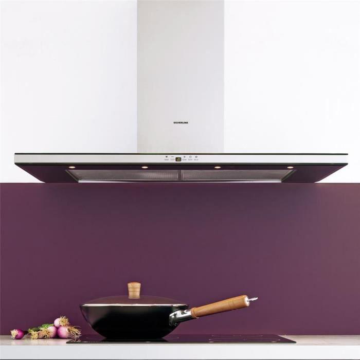 Hotte cuisine murale silverline kandy inox et verre noir - Hotte cuisine noire 90 cm ...