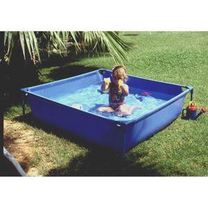 BASIC Piscine carré en PVC pour enfant 120x35cm - Bleue
