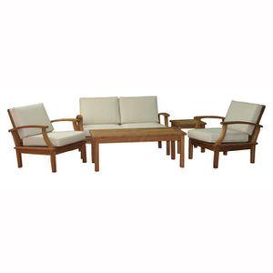 Salon complet interieur achat vente salon complet for Table teck interieur