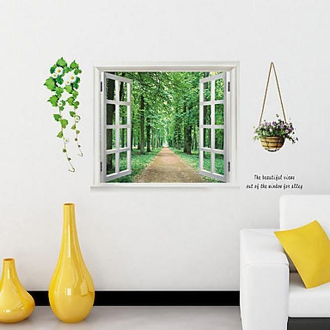 Affiche murale fen tre donnant sur un chemin dans les bois for Decoration murale fenetre