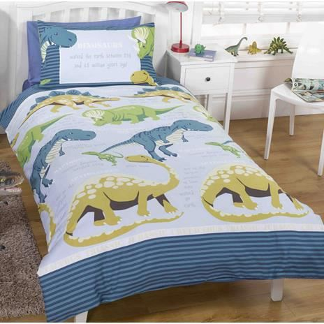 housse de couette dinosaures 1 personne 140x200 cm achat. Black Bedroom Furniture Sets. Home Design Ideas