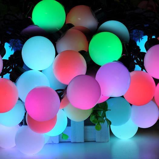 guirlande lumineuse 20 boules led rvb 5m etanche ip44 pour d coration int rieure et ext rieure. Black Bedroom Furniture Sets. Home Design Ideas