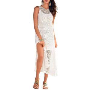 robe longue de plage fendue en dentelle et sans manches marui blanc 34 38 tu blanc. Black Bedroom Furniture Sets. Home Design Ideas