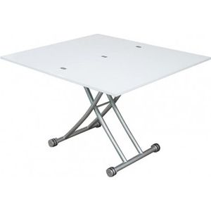 Table ronde a roulette achat vente table ronde a - Table basse relevable blanc laque ...