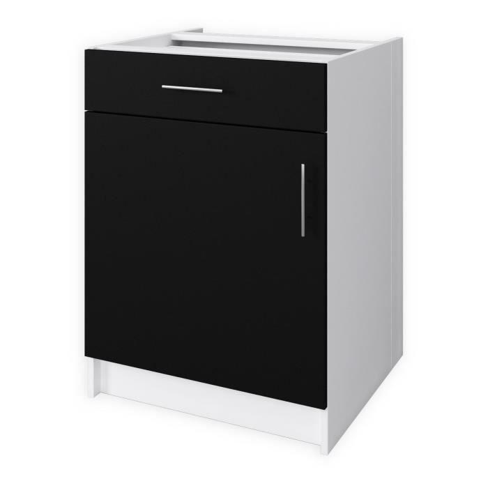 Obi meuble bas de cuisine l60 cm noir mat achat for Meuble cuisine element bas