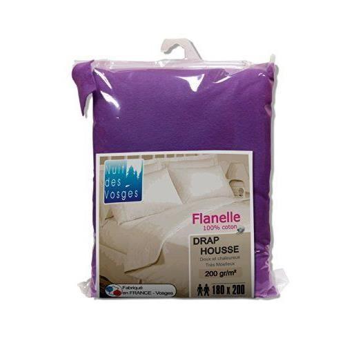 nuit des vosges 2227154 caen drap housse flanelle unie coton lavande 200 x 180 cm achat. Black Bedroom Furniture Sets. Home Design Ideas