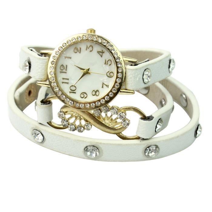 Montre bracelet cuir pu strass cadran alliage blanc retro d coration femme homme achat vente for Montre decoration