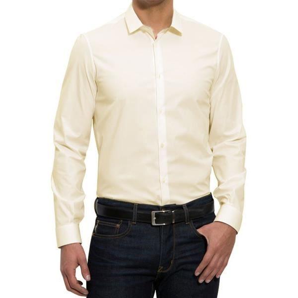 chemise bouton de manchette blanc achat vente chemise. Black Bedroom Furniture Sets. Home Design Ideas