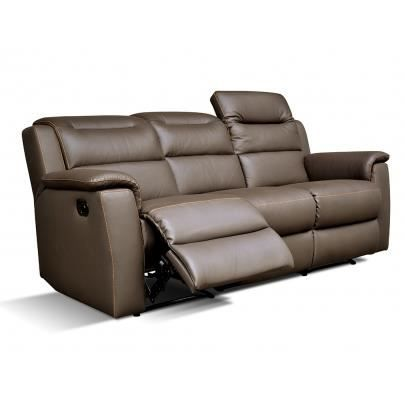 canap 3 places relax cuir sofia chocolat achat. Black Bedroom Furniture Sets. Home Design Ideas