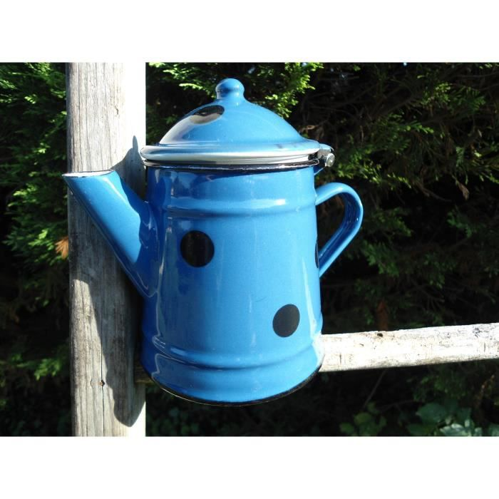 cafetiere 1 2 litre emaillee bleue a pois mail achat vente cafeti re th i re cdiscount. Black Bedroom Furniture Sets. Home Design Ideas