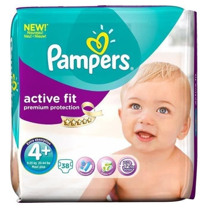 pampers active fit taille 4 9 20 kg g ant x38 couches blanc blanc achat vente couche. Black Bedroom Furniture Sets. Home Design Ideas