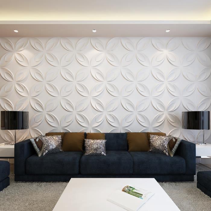 Panneau mur 3d fleur blanc achat vente objet d coration murale bambou ca - Panneaux muraux decoratifs design ...