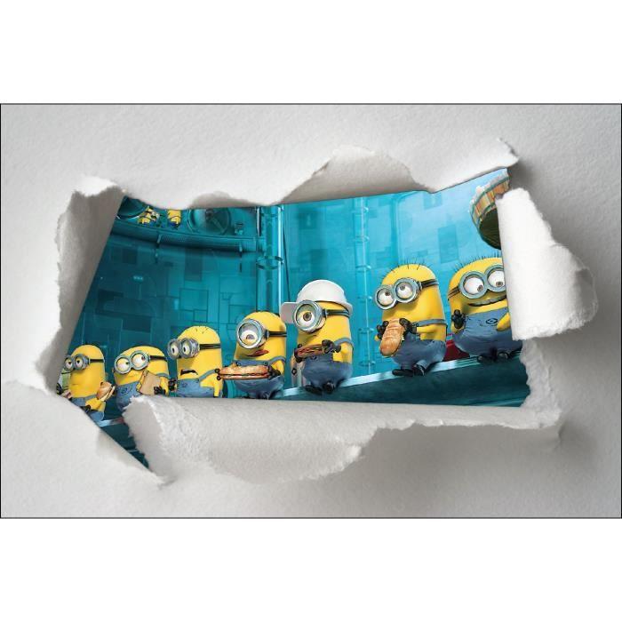 Stickers enfant papier d chir minions r f 7607 dimensions for Decoration chambre les minions