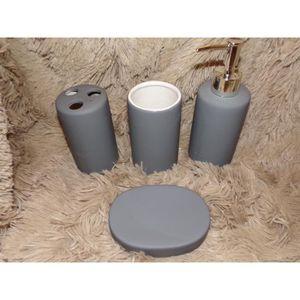 set accessoires coffret 4 accessoires salle de bain gomme gris uni - Vitrine Magique Accessoire Salle Deau