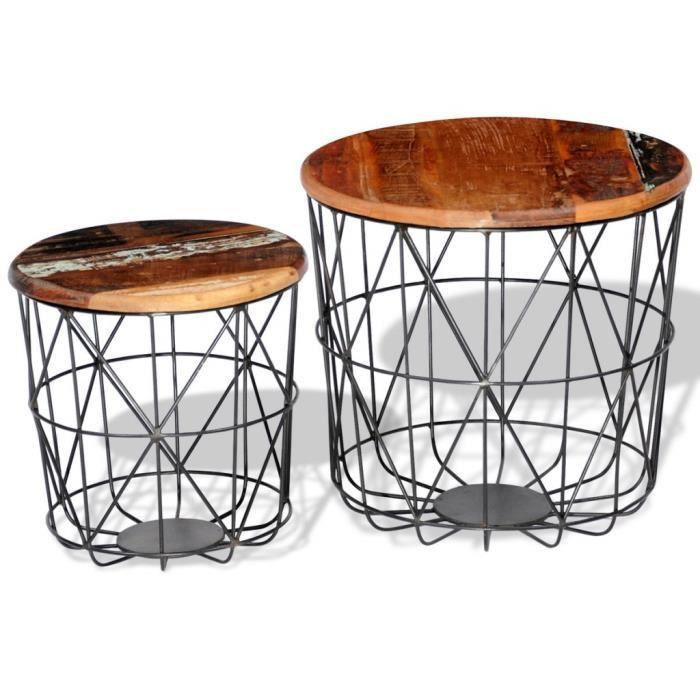 Magnifique 2 tables basses rondes en bois recyclees 35 cm for Table basse bois recycle