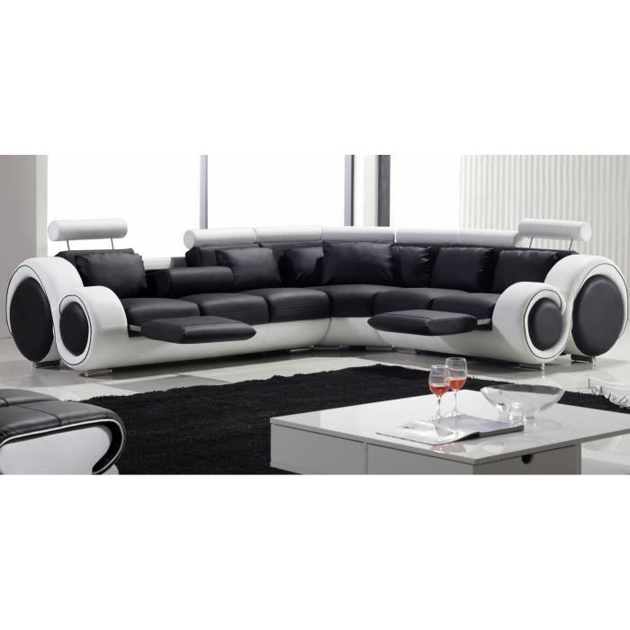 canap d 39 angle design cuir noir et blanc imperi achat. Black Bedroom Furniture Sets. Home Design Ideas