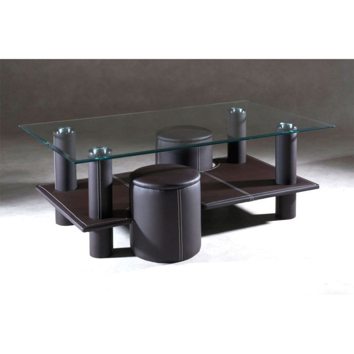 Table basse 2 poufs chocolat mars achat vente table - Table basse fabrication maison ...