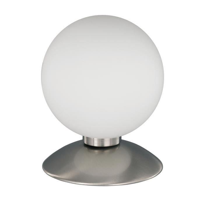 Lampe poser design boule en verre opale achat vente for Lampe a poser boule