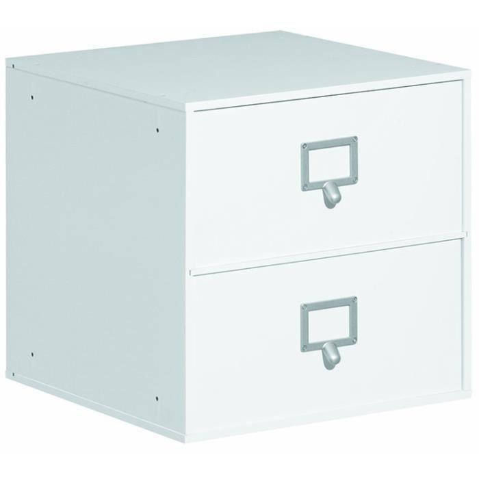 Boite de rangement 2 tiroirs blanc dim 36 2 x 36 8 x 36 for Rangement tiroir blanc