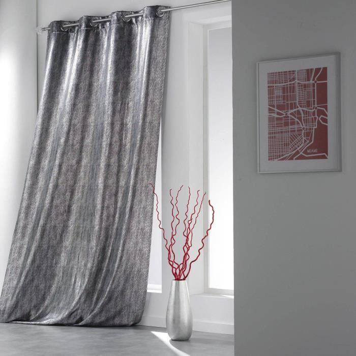 rideau oeillets 140x260 steel noir achat vente rideau. Black Bedroom Furniture Sets. Home Design Ideas