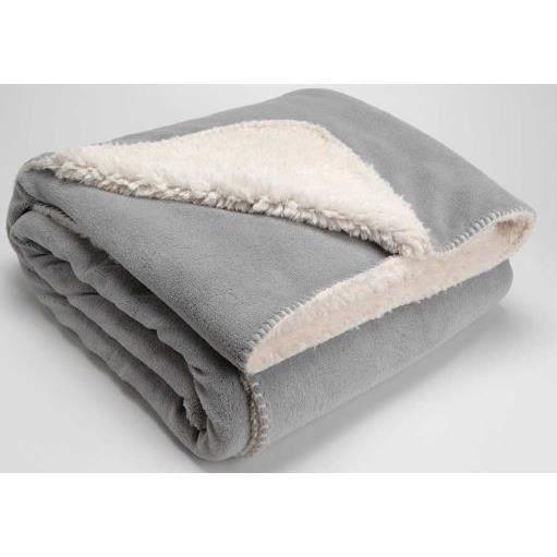 plaid doudou recto verso 130x150cm gris achat vente. Black Bedroom Furniture Sets. Home Design Ideas