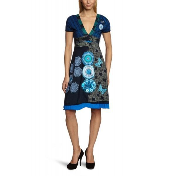 robe femme desigual huesca 31v21 bleu achat vente. Black Bedroom Furniture Sets. Home Design Ideas