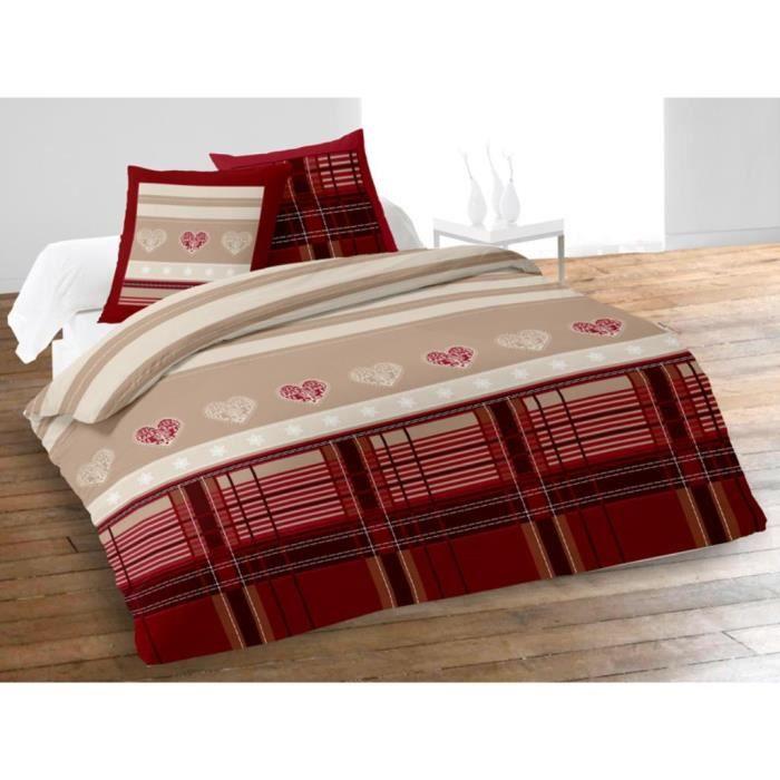 parure housse de couette 240x220 winter rouge achat. Black Bedroom Furniture Sets. Home Design Ideas