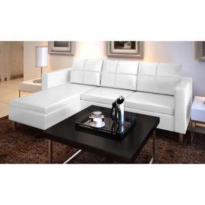CANAPÉ - SOFA - DIVAN Canapé en cuir blanc 194 x 127 x 60 cm