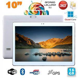 TABLETTE TACTILE Tablette 10 pouces 3G Android 5.1 Lollipop Dual SI