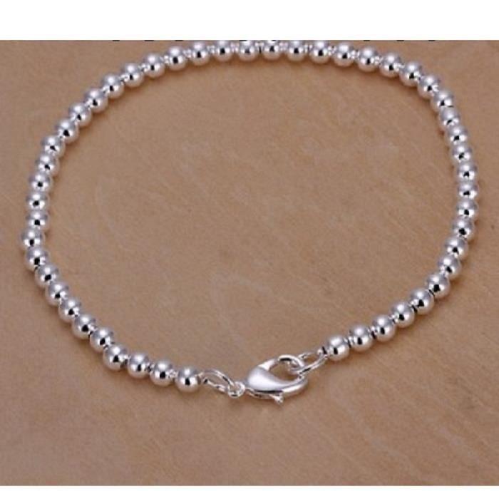 bracelet maille boule 4mm plaqu argent 925 achat vente bracelet gourmette bracelet maille. Black Bedroom Furniture Sets. Home Design Ideas