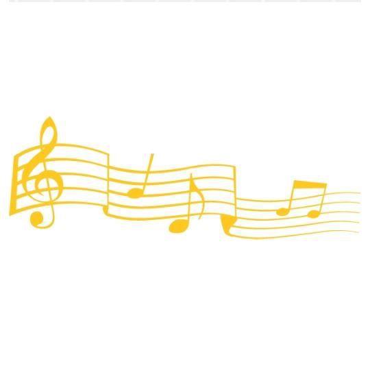 Stickers notes de musique jaune achat vente stickers for Decoration murale note de musique