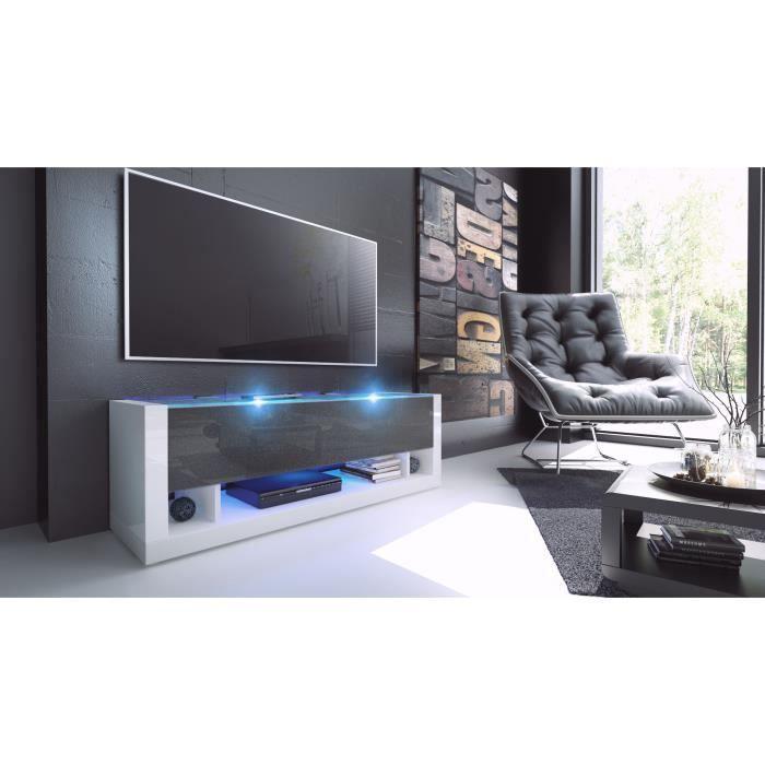 meuble tv blanc et noir m tallique achat vente meuble. Black Bedroom Furniture Sets. Home Design Ideas