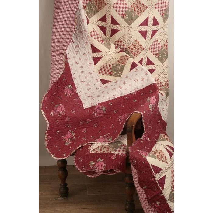 couvre lit boutis 230x250 2 taies 63x63 cm motif plac patchwork bordeaux et ecru achat. Black Bedroom Furniture Sets. Home Design Ideas