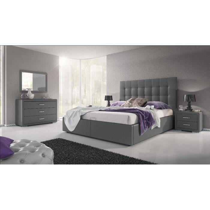 Lit design avec coffre lena gris achat vente lit for Lit design complet