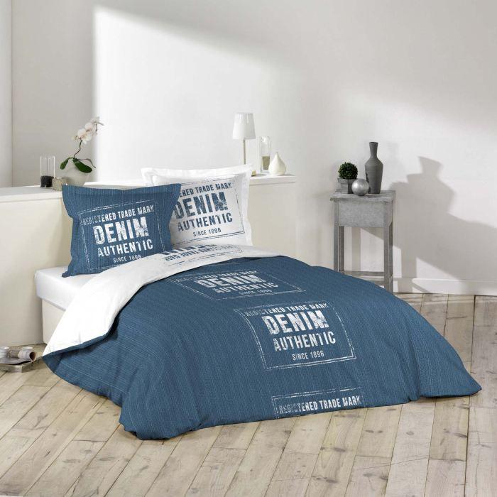 parure de lit 100 coton 220x240 denim achat vente. Black Bedroom Furniture Sets. Home Design Ideas
