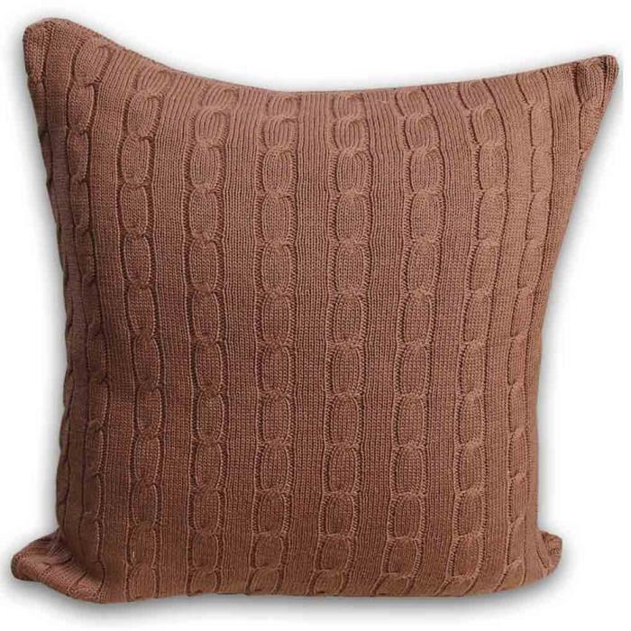 Coussin d houssable 100 coton torsad chocolat 45 x 45 cm - Housse de coussin 45 x 45 ...