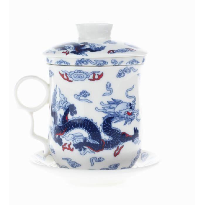Teaware chinois Dragon Blanc Porcelaine os tasses de thé tasse de ...