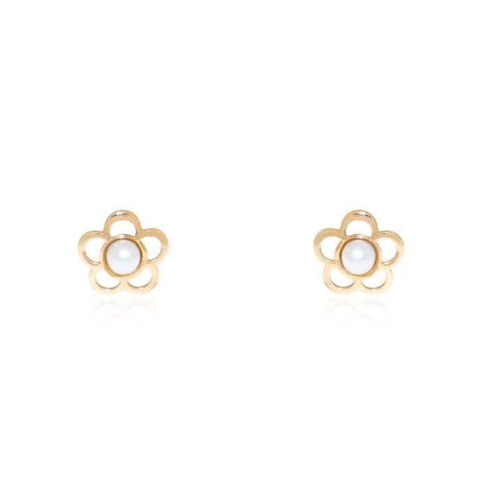 Boucles d 39 oreilles enfant fleur perle or jaune 750 1000 - Perle pour enfant ...