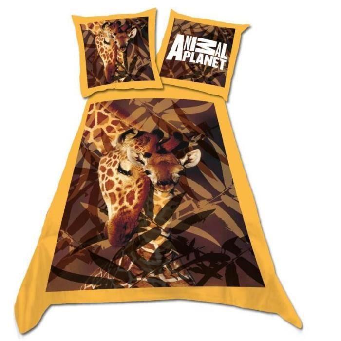 Parure housse de couette lit 1 place th me girafe achat for Housse de couette lit 1 place