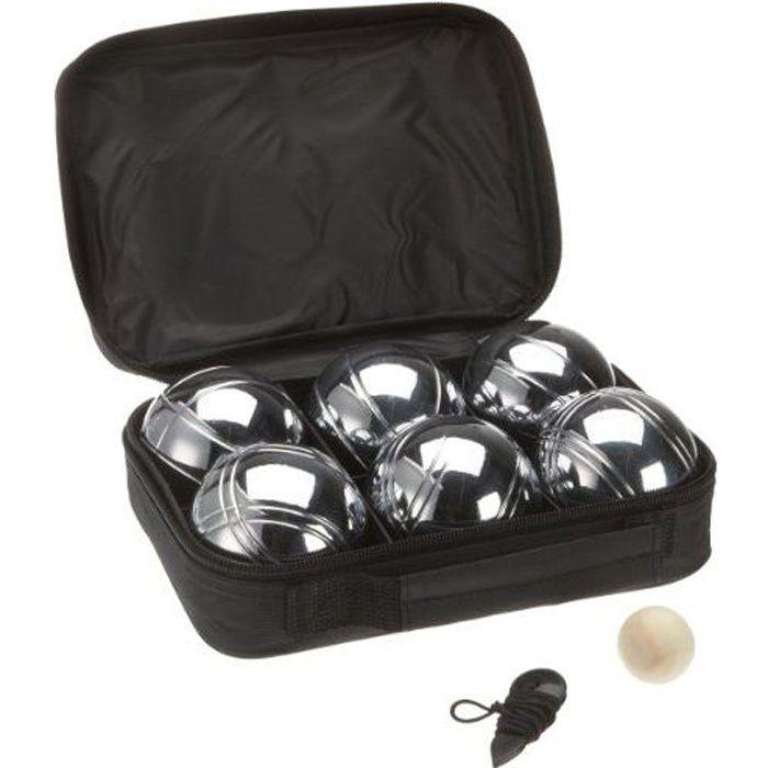 Sacoche de 6 boules de petanques chromees jeu prix - Jeux de bouee ...