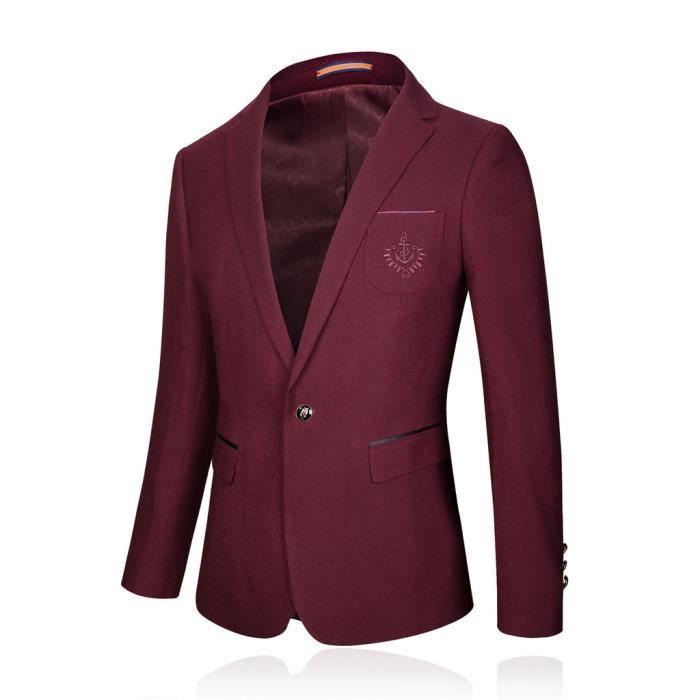costume veste hommes blazer homme manches longues veston du printemps rouge achat vente. Black Bedroom Furniture Sets. Home Design Ideas