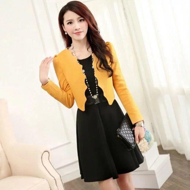 nouveau mode travail bureau robe femme ceinture jaune achat vente robe cdiscount. Black Bedroom Furniture Sets. Home Design Ideas
