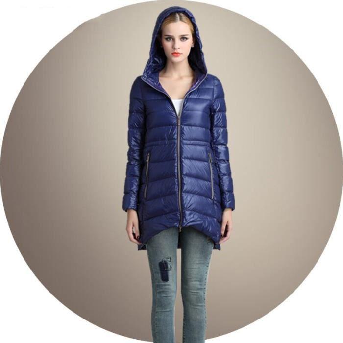femme mode doudoune l ger avec capuche v tement chaud manteau d 39 hiver down veste bleu achat. Black Bedroom Furniture Sets. Home Design Ideas