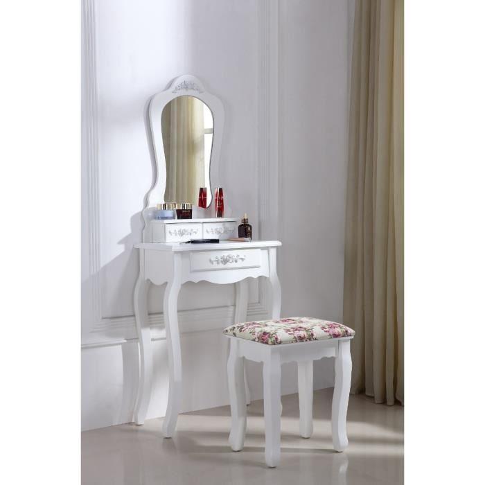 Coiffeuse blanche avec si ge et miroir achat vente for Coiffeuse blanche avec miroir