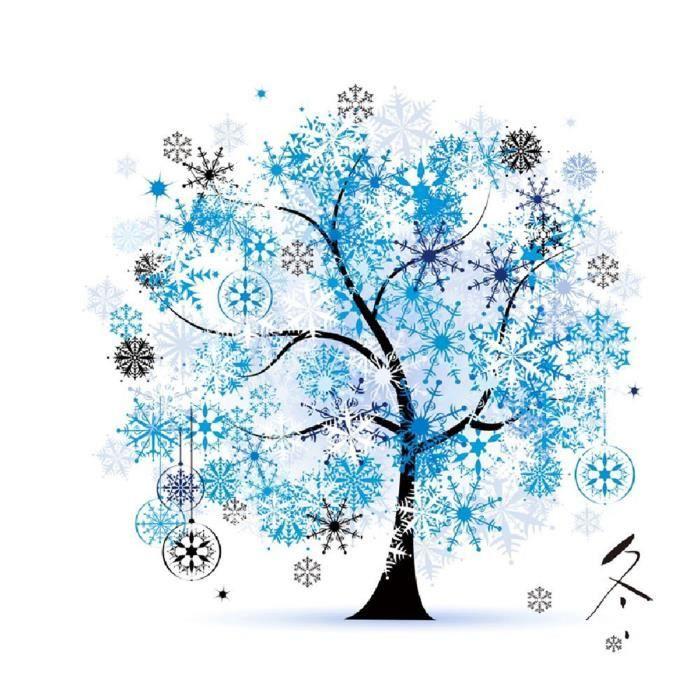 Kit broderie point de croix arbre fortun saison hiver for Salon broderie
