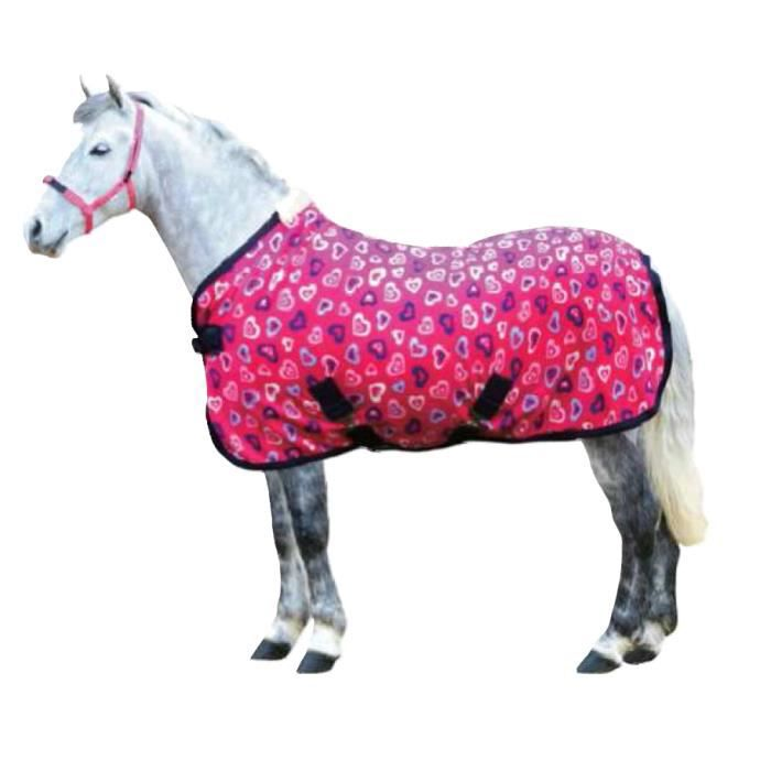 couverture polaire pink hearts cheval 135 cm prix pas cher cdiscount. Black Bedroom Furniture Sets. Home Design Ideas