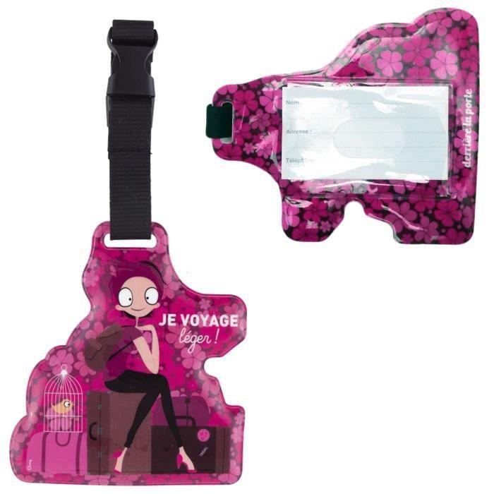 Porte tiquette de bagage je voyage l ger rose valise for 1 porte etiquette de voyage