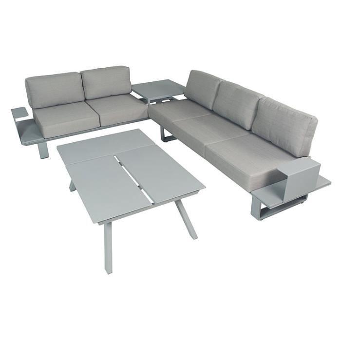 Salon D 39 Angle En Aluminium Gris Coussins Gris Kiona Achat Vente Salon De Jardin Salon D