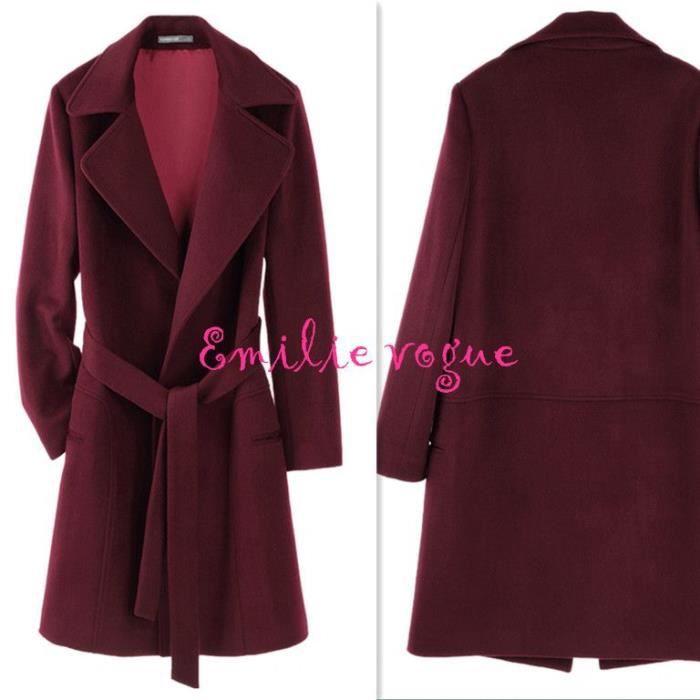manteau veste femme coupe vent de laine en bordeaux grand revers emilie vogue rouge achat. Black Bedroom Furniture Sets. Home Design Ideas