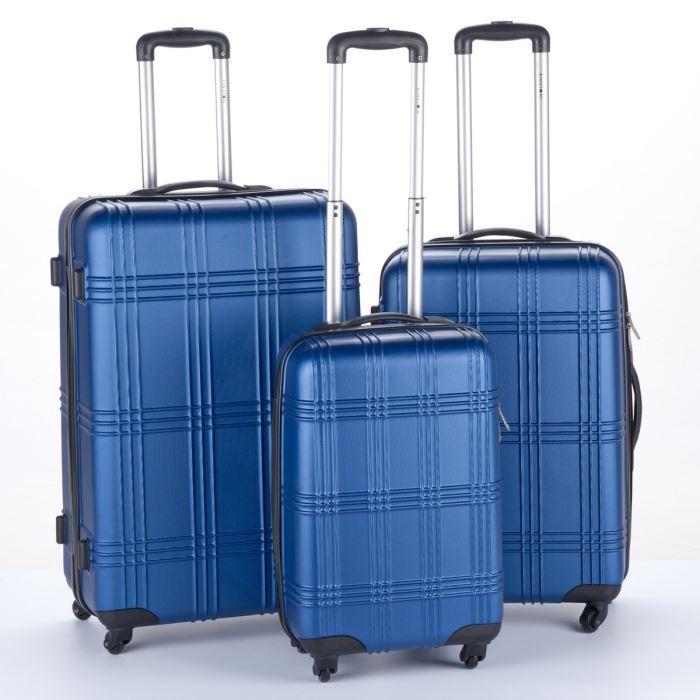 kinston set de 3 valises trolley 4 roues 54 64 74 cm bleu bleu achat vente set de valises. Black Bedroom Furniture Sets. Home Design Ideas